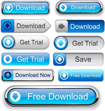 web buttons: Download web blue buttons for website or app. Vector eps10.
