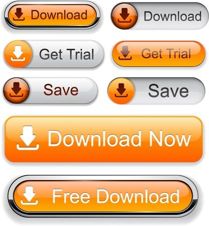 Télécharger des boutons web orange pour le site Web ou une application. Vector eps10.