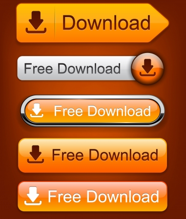 download: Download web orange buttons for website or app. Vector eps10.
