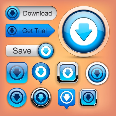 Download web blue buttons for website or app. Vector eps10.  Vector