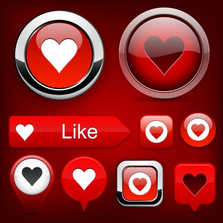 Heart web red buttons for website or app. Vector eps10. Vector