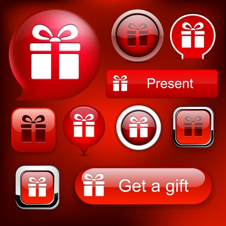 Gift web red buttons for website or app. Vector eps10. Stock Vector - 12033103