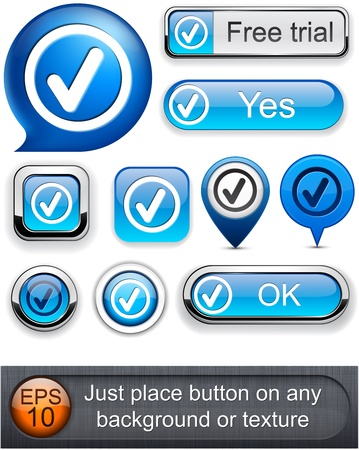 speech marks: Tick web blue buttons for website or app. Vector eps10.