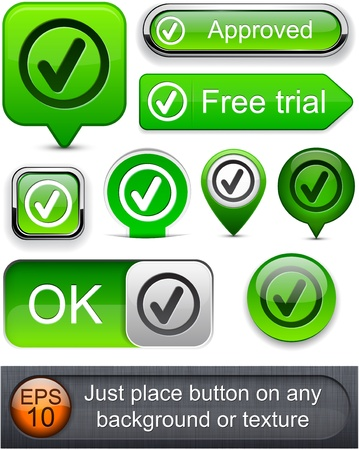 Tick web green buttons for website or app. Vector eps10.  Vector