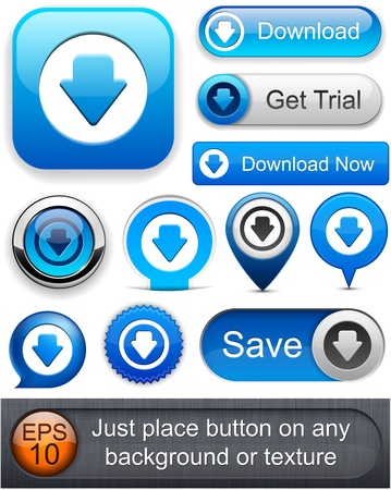 download: Download web blue buttons for website or app. Vector eps10.