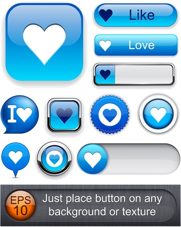 Heart web blue buttons for website or app. Vector eps10.  Vector