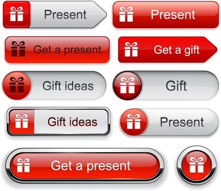 Gift web red buttons for website or app. Vector eps10. Vector