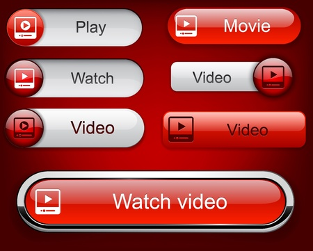 Video web buttons for website or app.  Vector