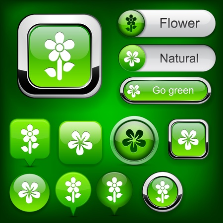 Flower web buttons for website or app.  Vector