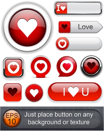 Heart web red buttons for website or app.  Vector