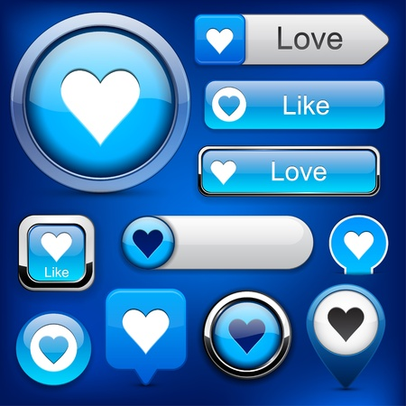 Heart web blue buttons for website or app.  Vector