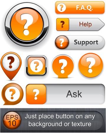 preguntando: FAQ naranja botones web para el sitio web o aplicación.