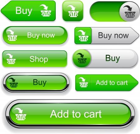 Comprar botones de la tela de color naranja para el sitio web o aplicación.