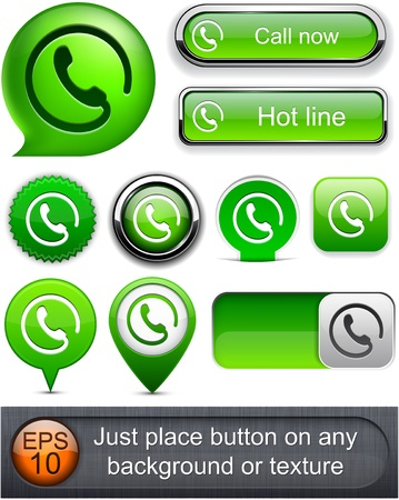 handset: Call green web buttons for website or app.