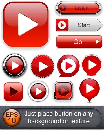 divertirsi: Gioca pulsanti web in rosso per sito web o un'applicazione. Vettoriali