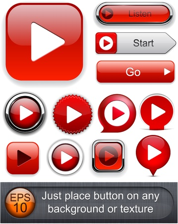 play icon: Play red web buttons for website or app.