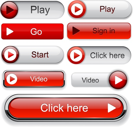 Play red web buttons for website or app. Vector eps10. Stock Vector - 12344773