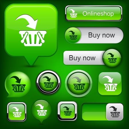 Buy web orange buttons for website or app. Stock Vector - 12344774