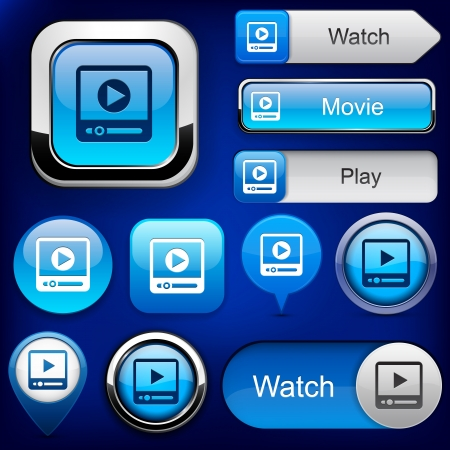 Video blue web buttons for website  Vector