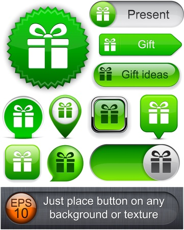 Gift green web buttons for website Vector