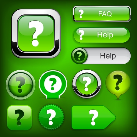 FAQ green web buttons for website or app  Vector