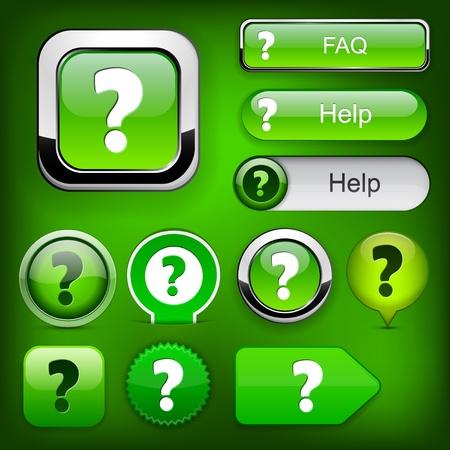 FAQ green web buttons for website or app Stock Vector - 12397262