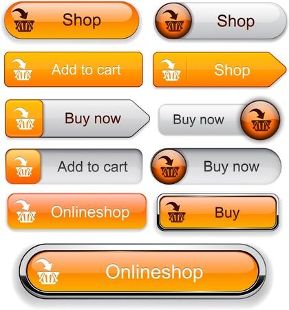 bouton ajouter: Acheter des boutons web d'orange pour le site web ou une application Illustration