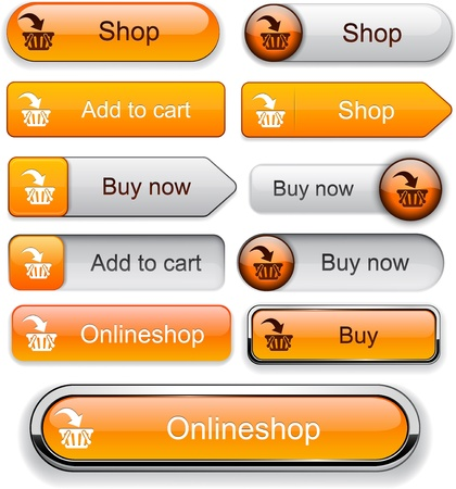 Buy web orange buttons for website or app Stock Vector - 12397264