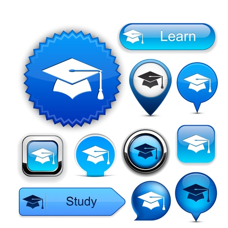 rounded square: Education web buttons for website or app