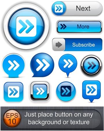 Forward blue design elements for website or app Stock Vector - 12437846