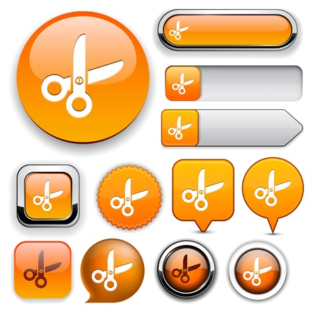 Cut orange design elements for website or app Stock Vector - 12437837