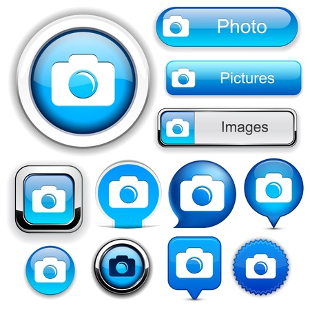 Photo blue design elements for website or app Stock Vector - 12437851