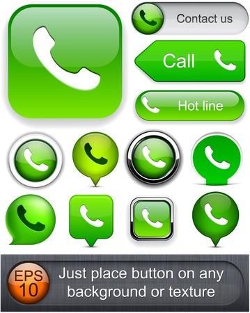 telephone: Los elementos de dise�o del tel�fono verde para el sitio web o aplicaci�n