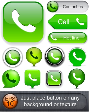 phone button: Phone green design elements for website or app