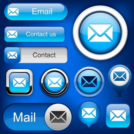 iconos contacto: Correo elementos de dise�o de color azul para el sitio web o aplicaci�n Vectores