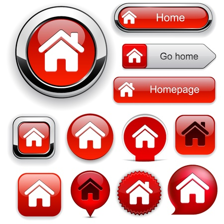 Home red design elements for website or app   Vector
