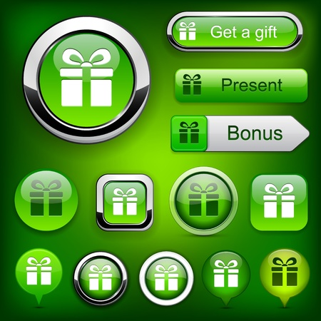 Gift green web buttons for website or app   Stock Vector - 12437849