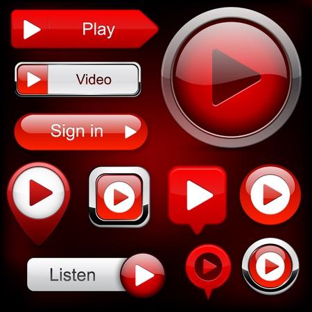 buttons: Gioca pulsanti web in rosso per sito web o un'applicazione Vettoriali