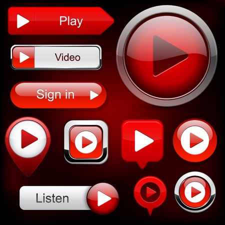 Play red web buttons for website or app   Vector