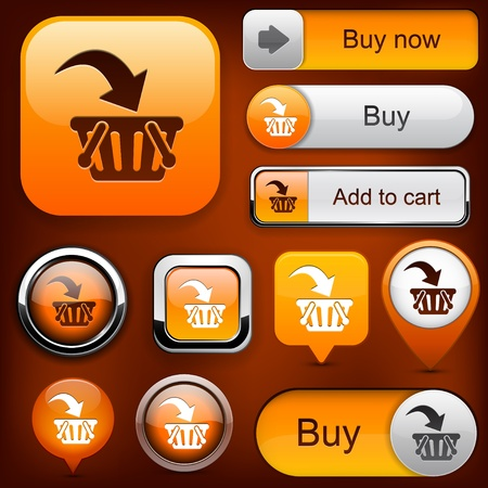 Buy web orange buttons for website or app Stock Vector - 12437848