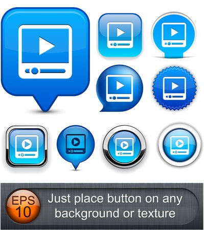 watch video: Video blue web buttons for website or app  Vector eps10  Illustration