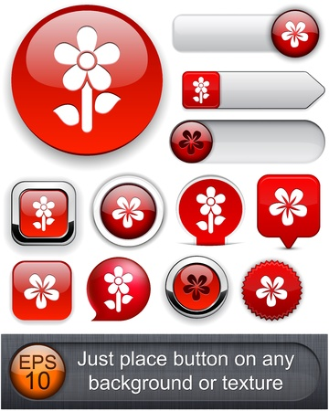 Flower red web buttons for website or app  Vector eps10   Vector