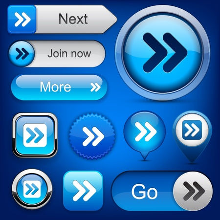 Forward blue design elements for website or app  Vector eps10 Stock Vector - 12497689
