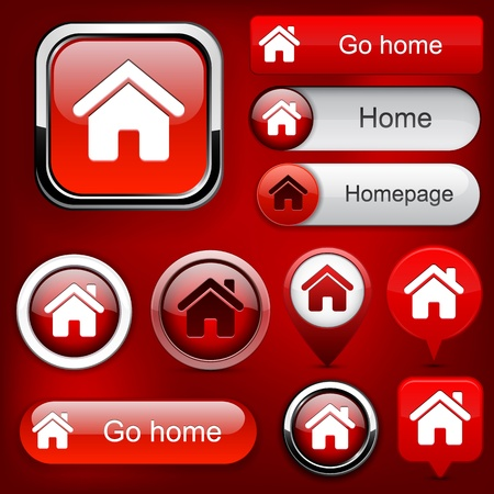 Home red design elements for website or app Stock Vector - 12497623