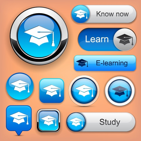 Education web buttons for website or app Stock Vector - 12575043