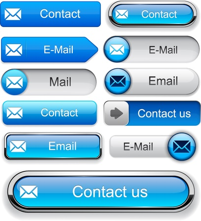 email contact: Mail blue design elements for website or app   Illustration
