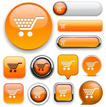 onlineshop: Buy orange design elements for website or app