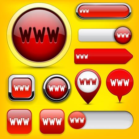 WWW red design elements for website or app   Vector