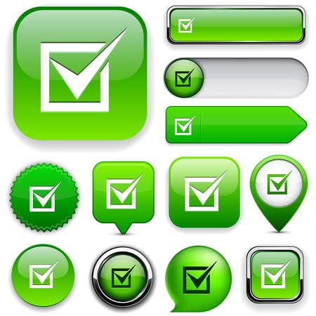 checkbox: Check mark green design elements for website or app