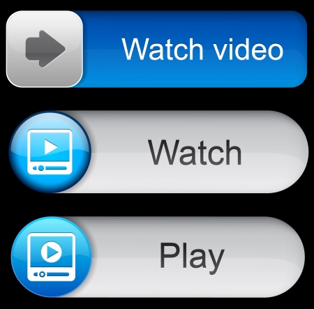 Video blue web buttons for website or app.  Vector